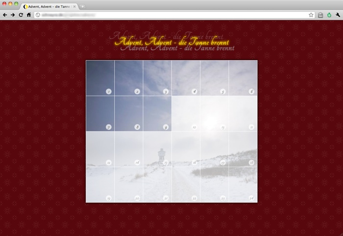 Screenshot vom WordPress-Adventskalender